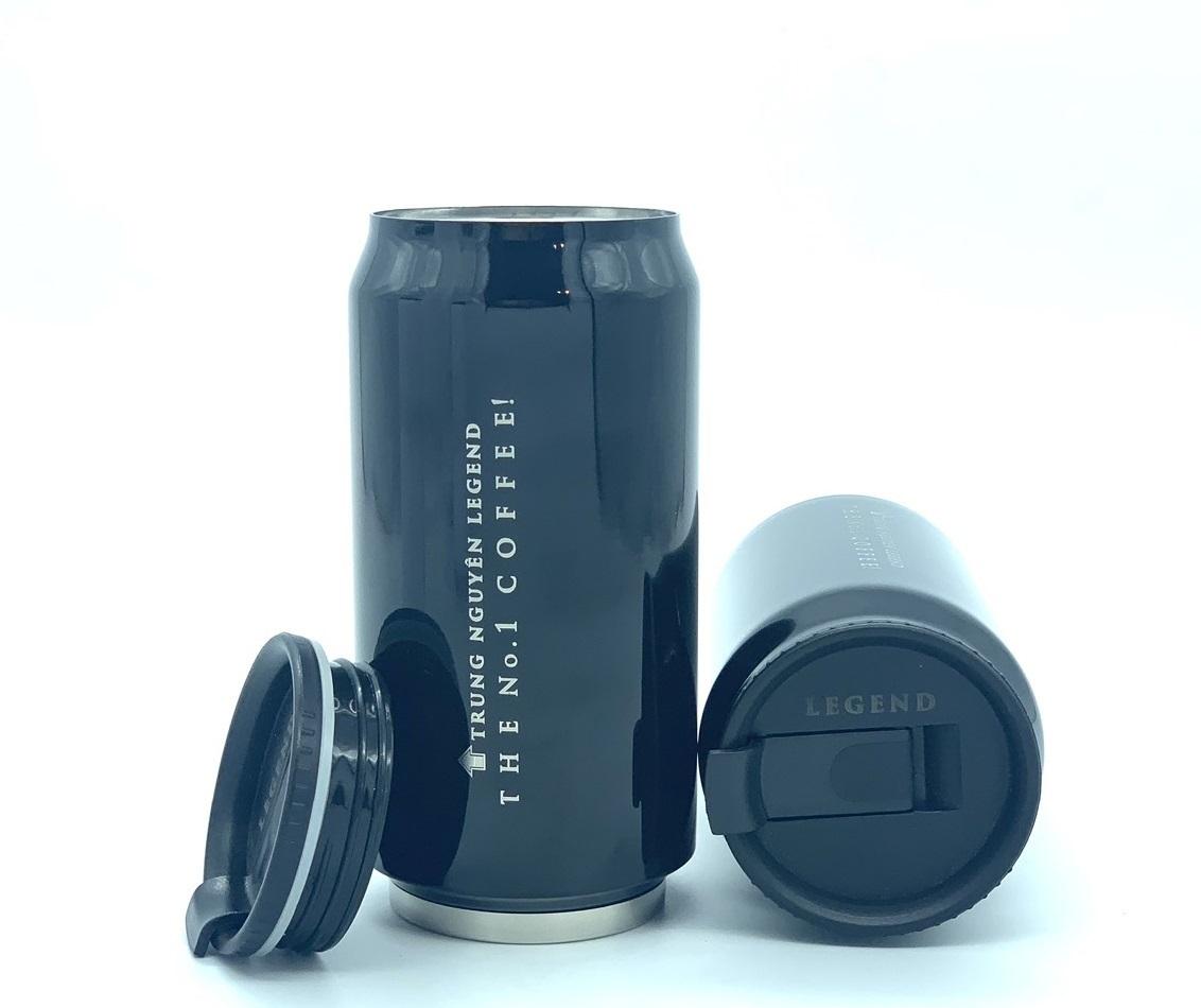 Bình giữ nhiệt cao cấp inox Trung Nguyên Legend - Bình Màu Đen (350ml)
