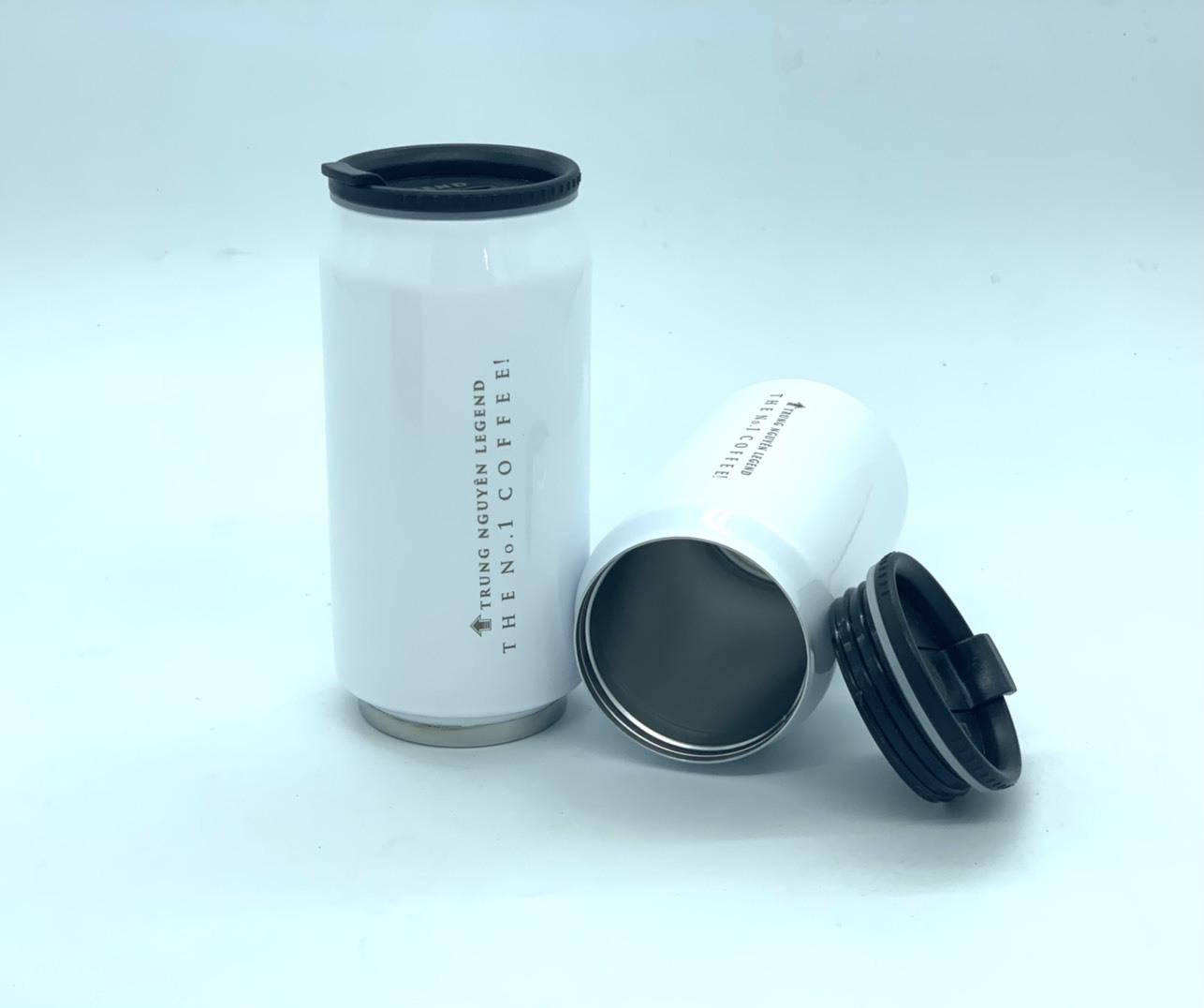 Bình giữ nhiệt cao cấp inox Trung Nguyên Legend - Bình Màu Trắng (350ml)