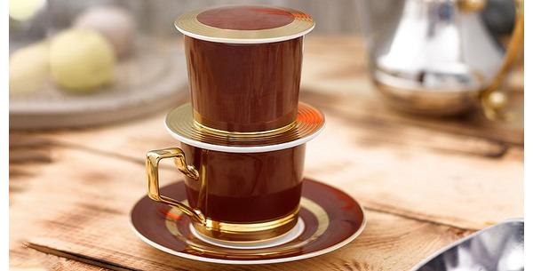 Bộ phin pha cà phê sứ Mạ Vàng 24K Huyền Thoại