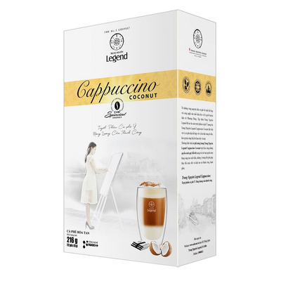 Cafe Cappuccino Coconut Trung Nguyên Hộp 12 gói( Vị Dừa)