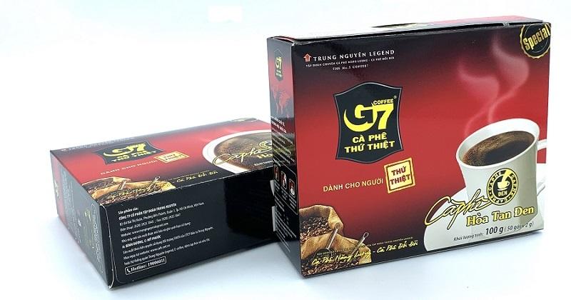 Cafe G7 hòa tan đen Hộp 50 gói x 2gam