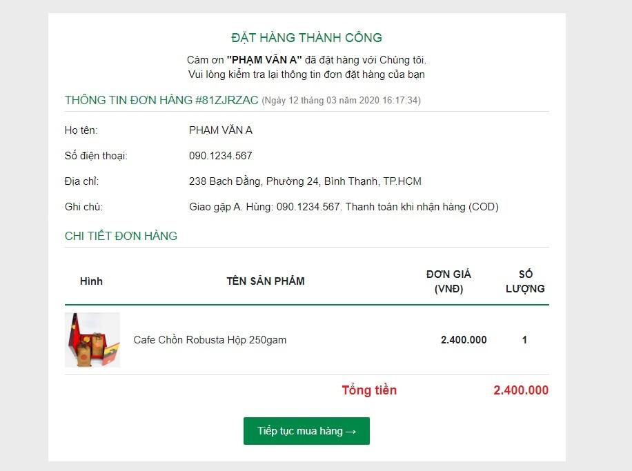 Hướng hẫn mua hàng tại website icoffee